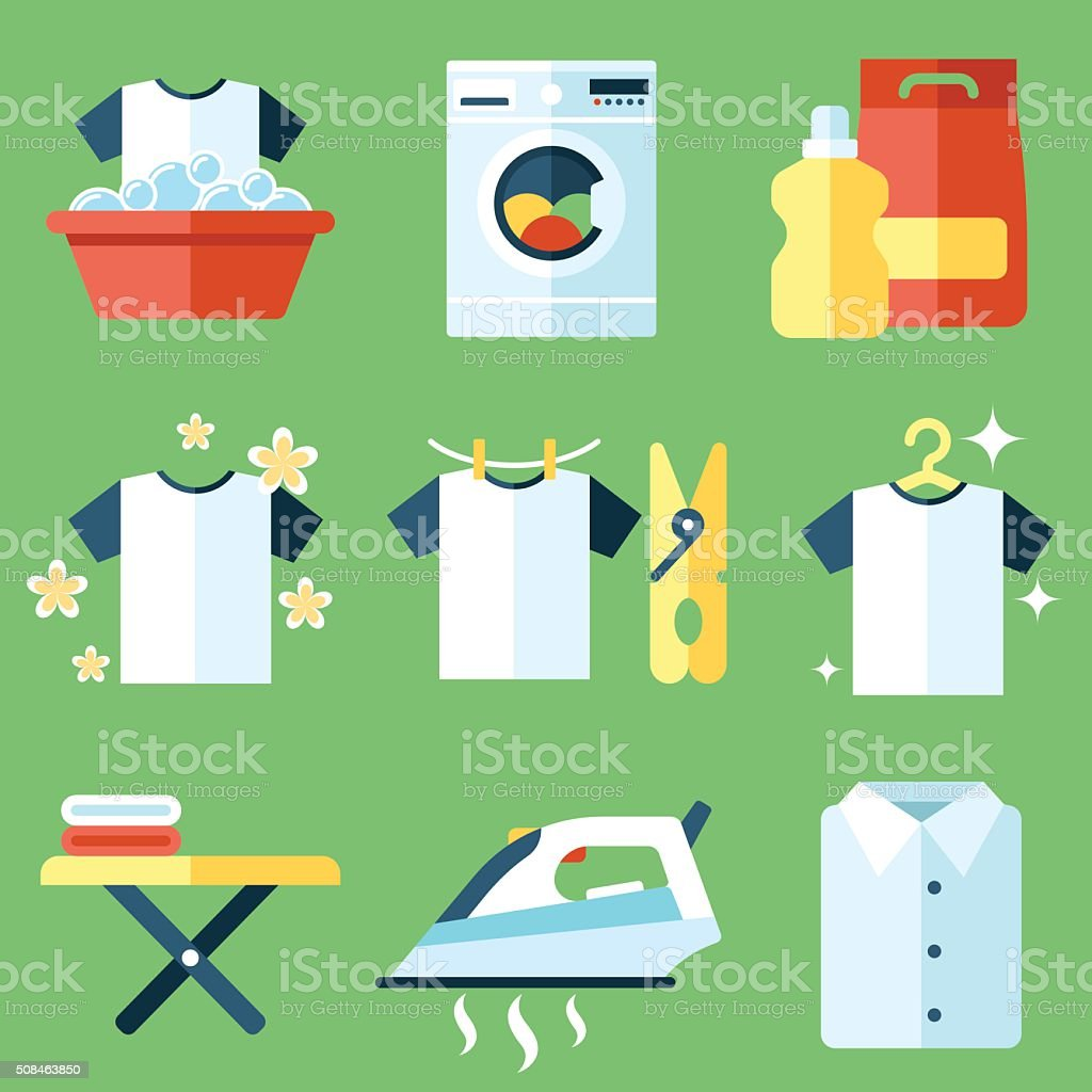 Washing icons vector art illustration