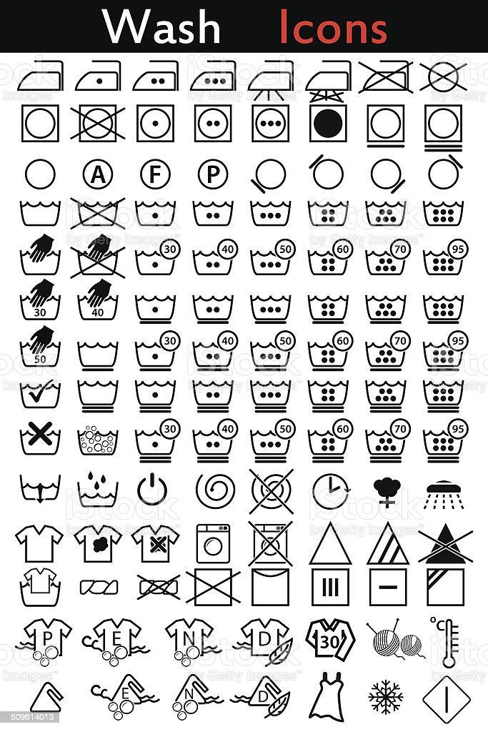 Washing instruction icons vector art illustration
