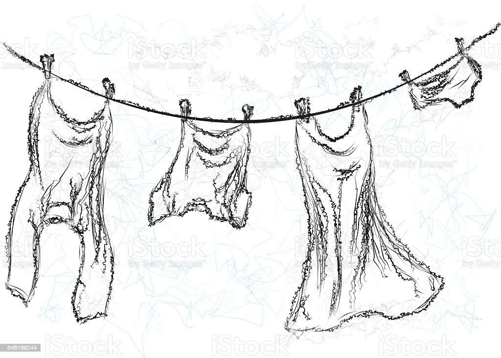 washing line vector art illustration