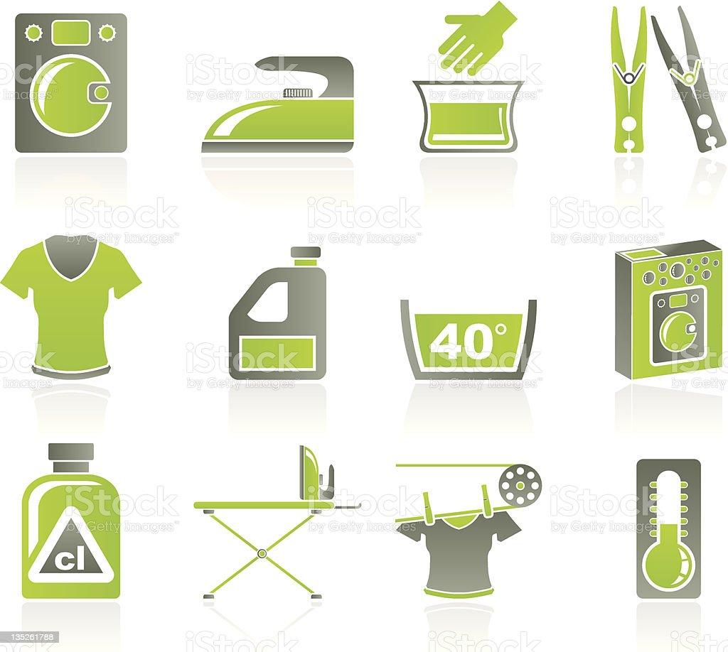 Washing machine and laundry icons vector art illustration