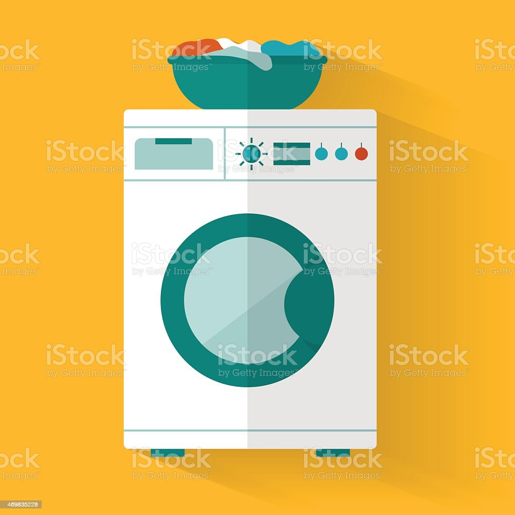 Washing machine vector art illustration