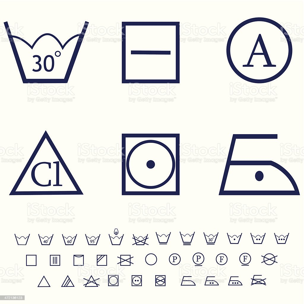 washing signs, care label icon set royalty-free stock vector art