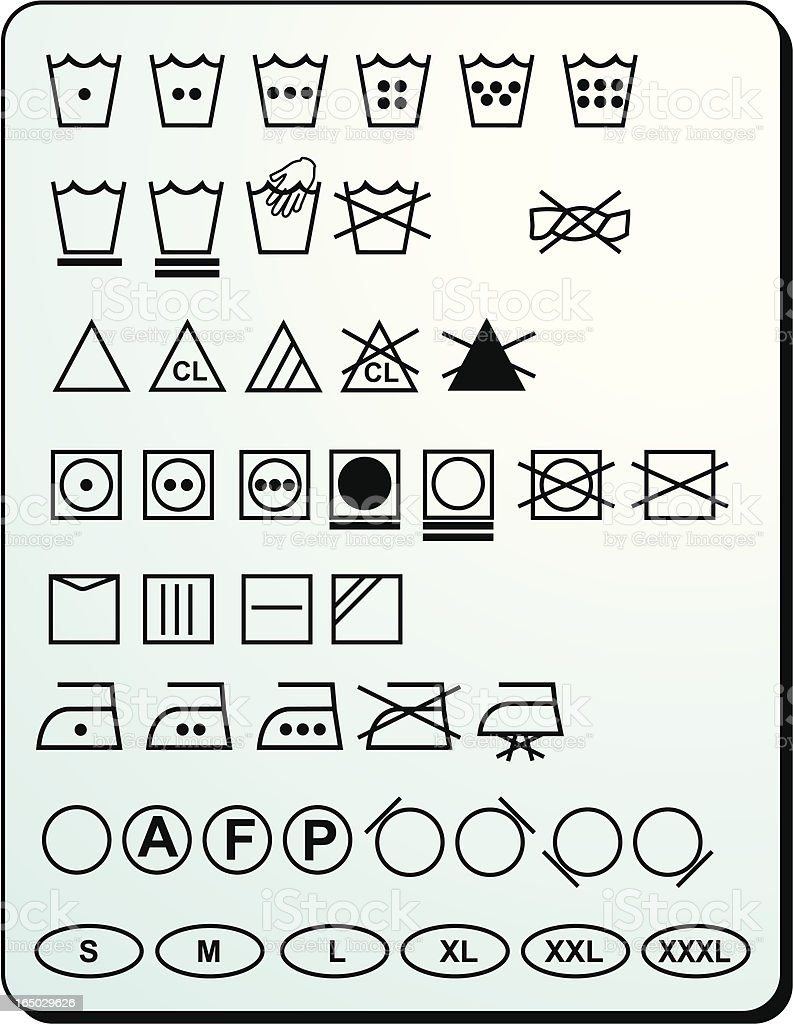 Washing Symbols All in One! vector art illustration