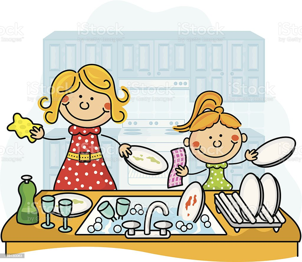 Washing the dishes Kids royalty-free stock vector art