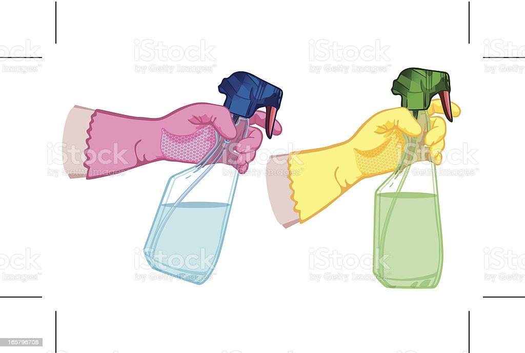 washing up gloves and spray bottles vector art illustration