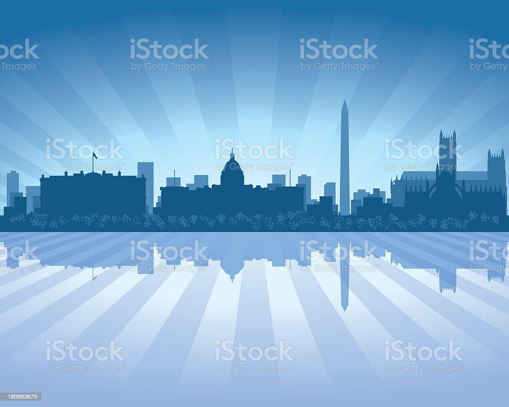 Washington Blue City skyline silhouette vector art illustration