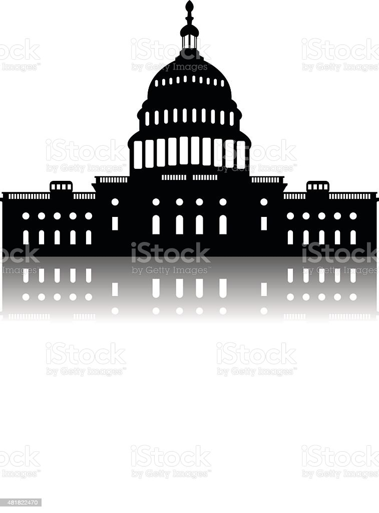 Washington Capitol building skyline silhouette vector vector art illustration