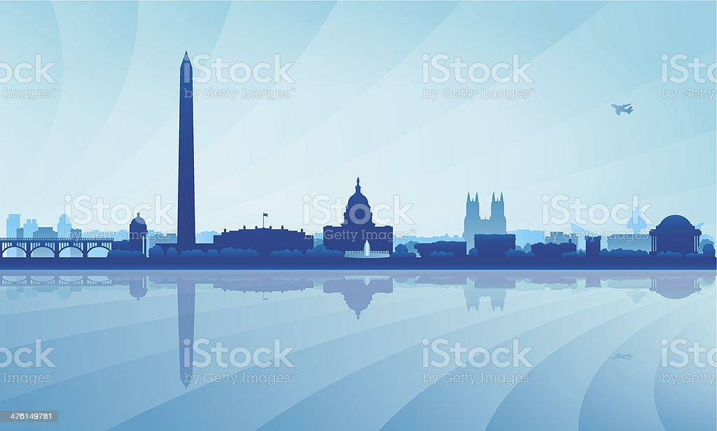 Washington city skyline silhouette background vector art illustration