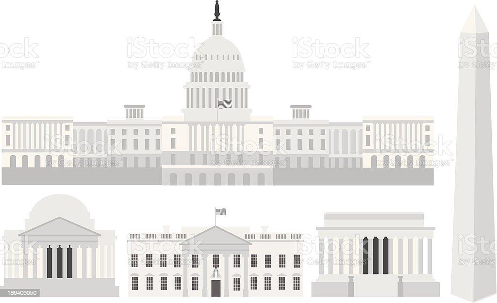 Washington DC Capitol Buildings and Memorials Vector Illustration vector art illustration