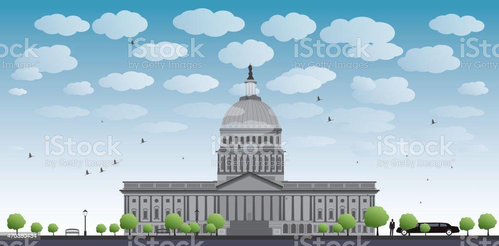 Washington DC Capitol landscape, USA vector art illustration