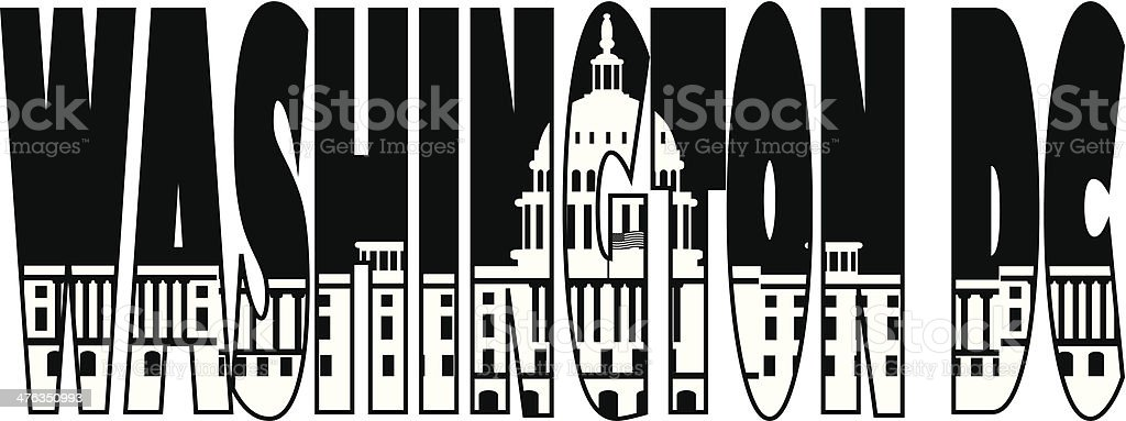 Washington DC Capitol Text Outline Illustration royalty-free stock vector art
