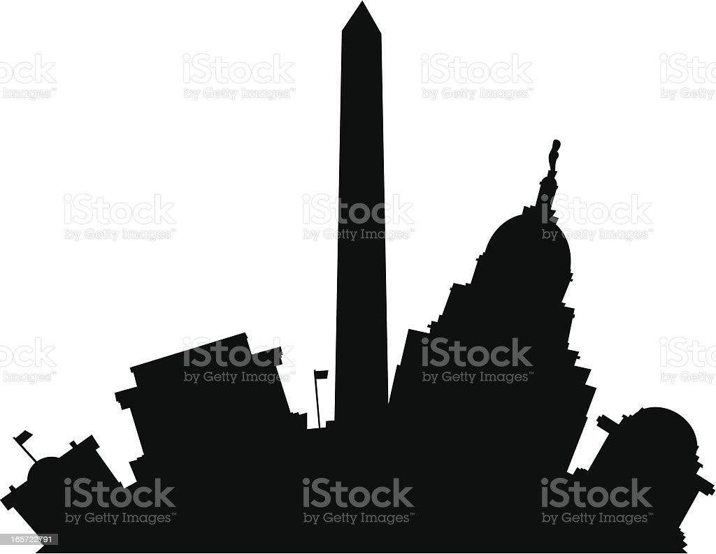 Washington D.C. Cartoon Silhouette vector art illustration