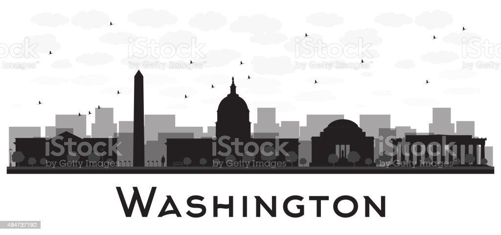 Washington dc city skyline black and white silhouette vector art illustration