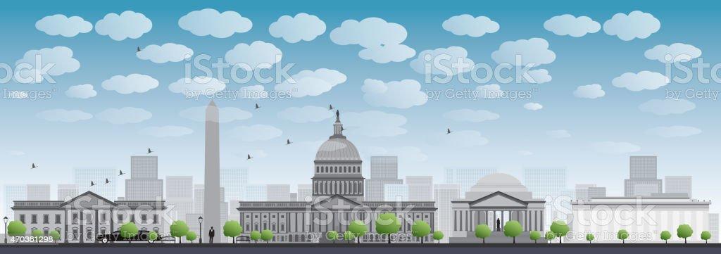 Washington DC city skyline silhouette vector art illustration