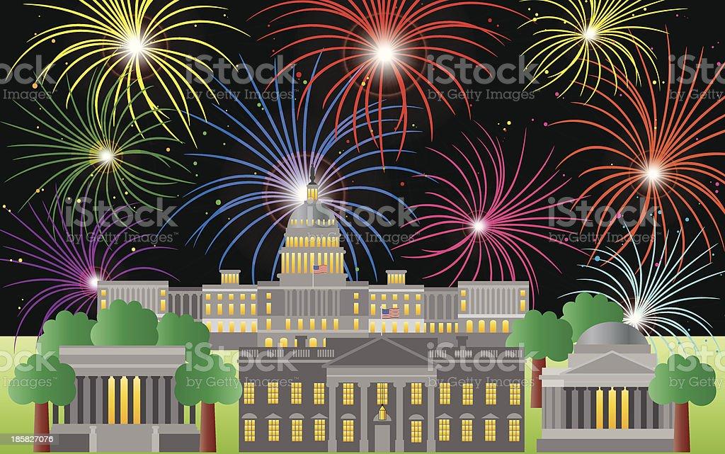 Washington DC Fourth of July Fireworks Vector Illustration royalty-free stock vector art