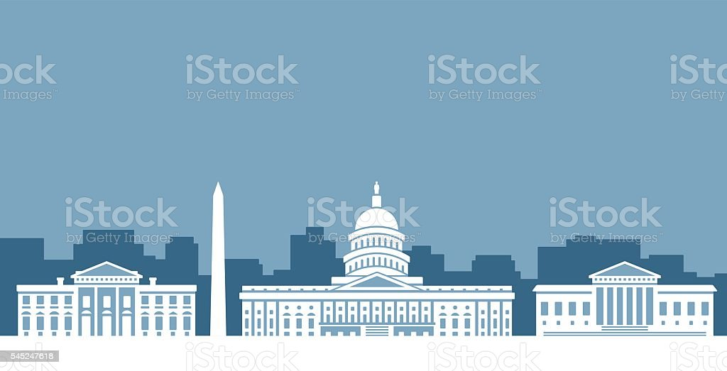 Washington D.C. Government Skyline vector art illustration
