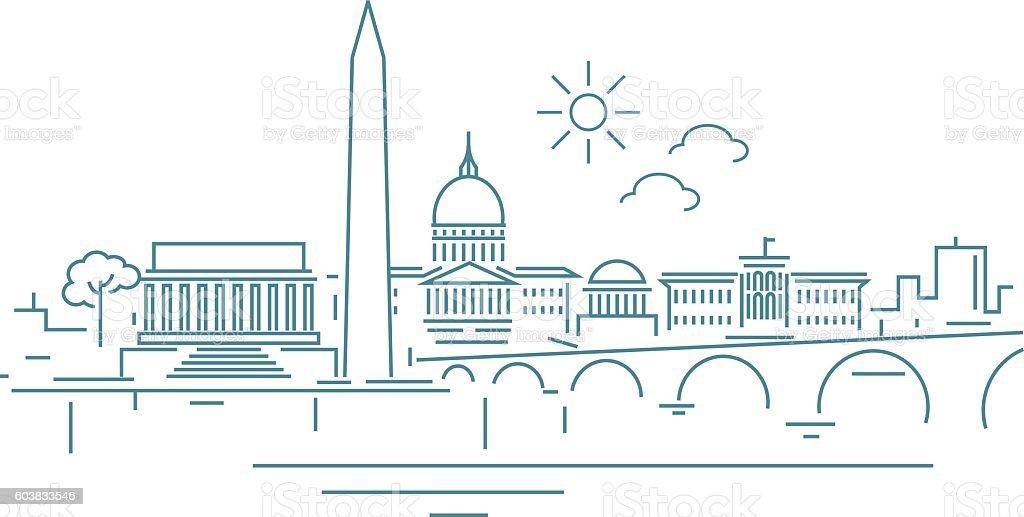 Washington Dc skyline vector art illustration
