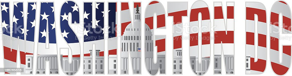Washington DC Text Outline Capitol US Flag Vector Illustration royalty-free stock vector art