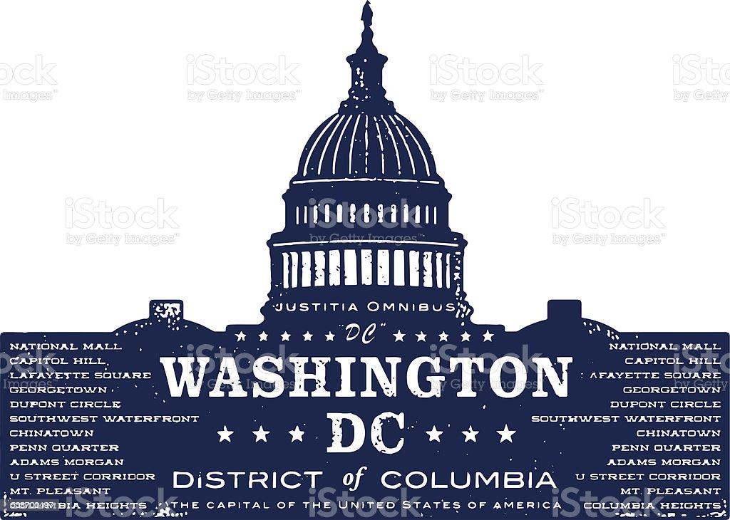 Washington DC Typo Silhouette Stamp vector art illustration