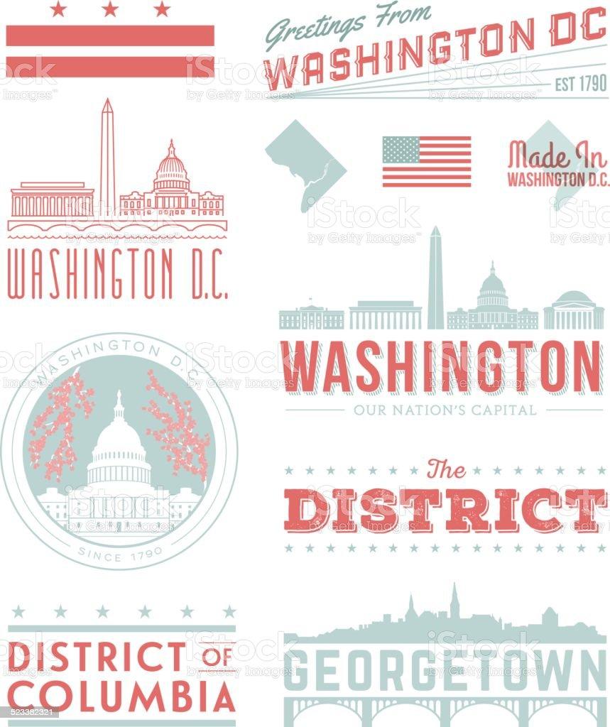 Washington D.C. Typography vector art illustration