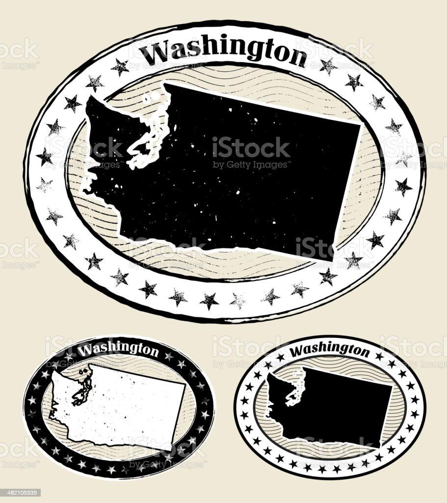 Washington Grunge Map Black & White Stamp Collection vector art illustration