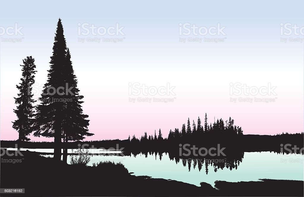 Washington Lakeshore vector art illustration