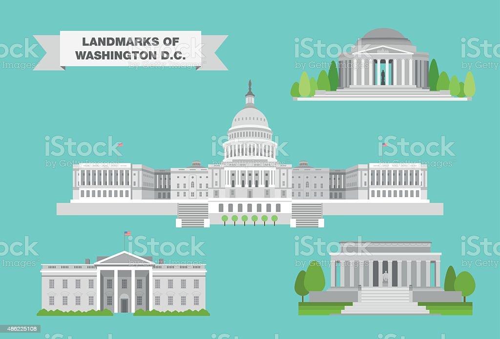 Washington Landmarks vector art illustration
