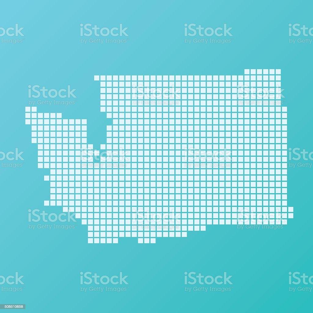 Washington Map Basic Square Pattern Turquoise vector art illustration