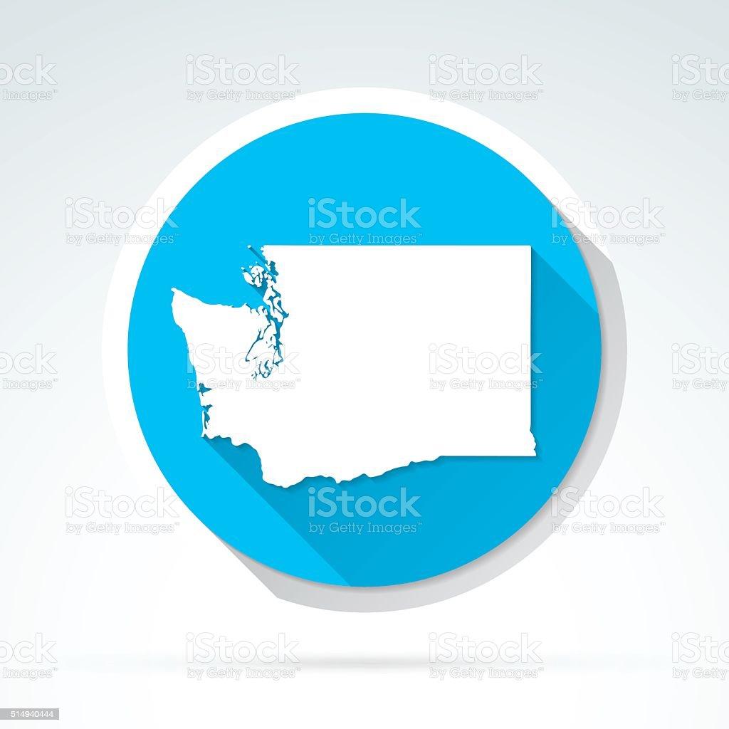 Washington map icon, Flat Design, Long Shadow vector art illustration