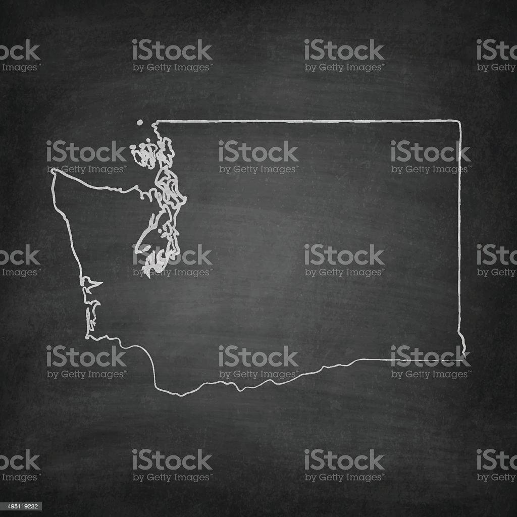 Washington Map on Blackboard - Chalkboard vector art illustration