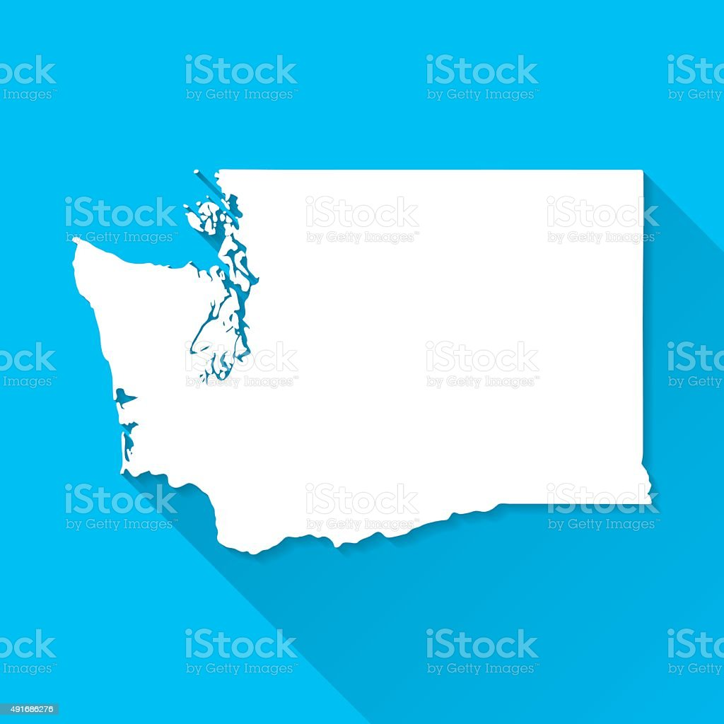 Washington Map on Blue Background, Long Shadow, Flat Design vector art illustration
