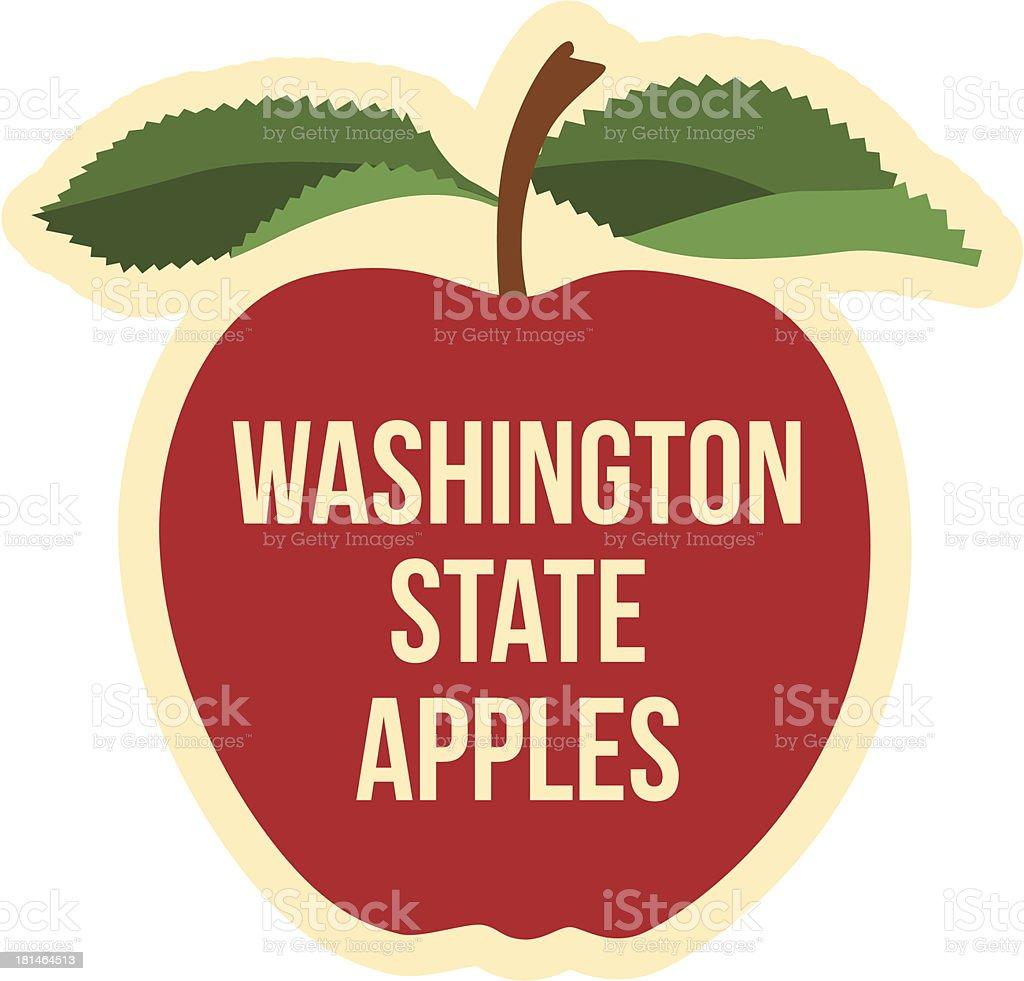 Washington State apples sticker vector art illustration
