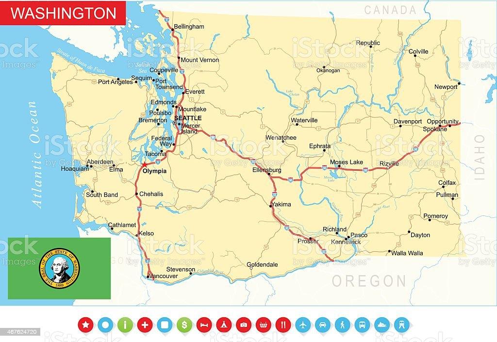 Washington State Map - USA vector art illustration