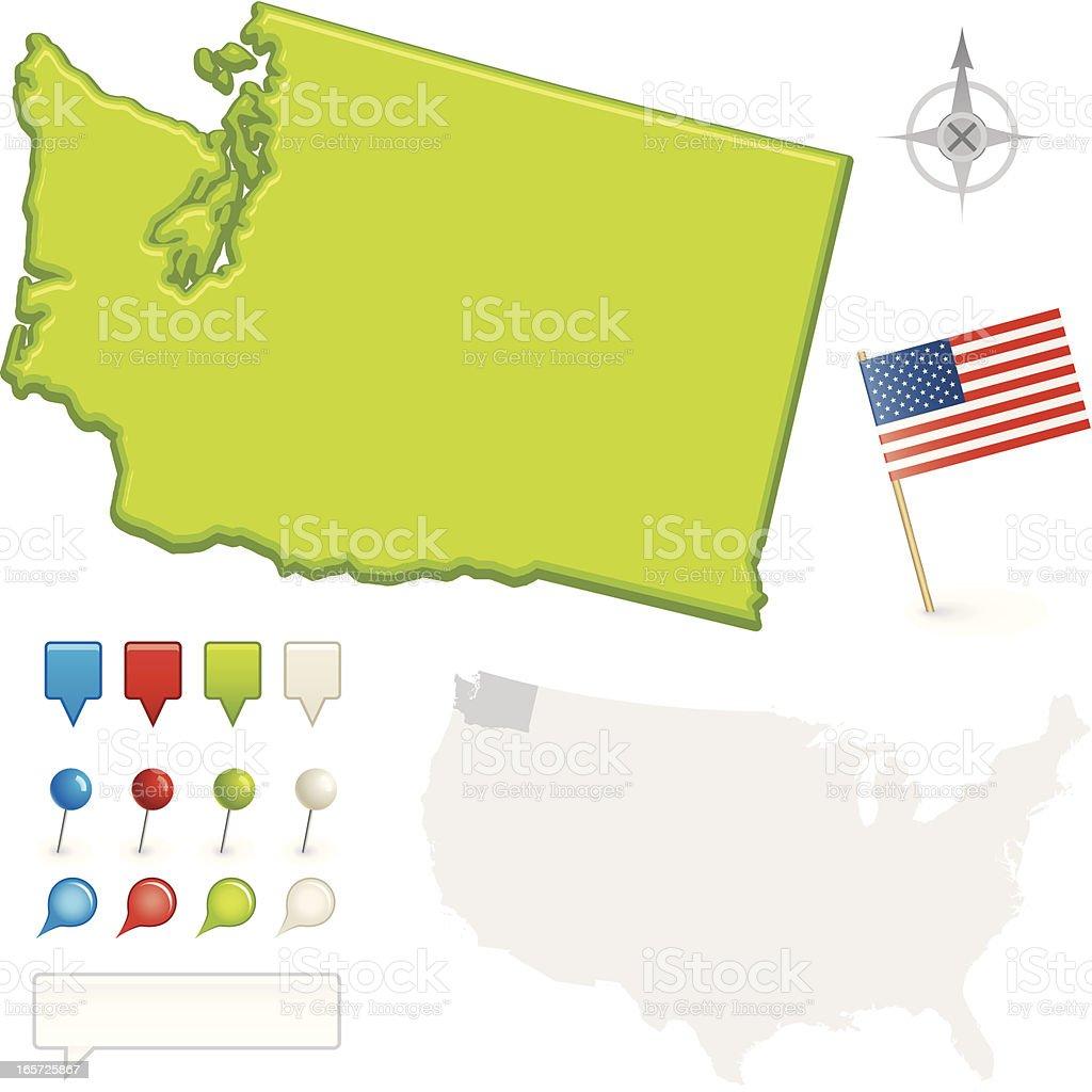 Washington State Map vector art illustration