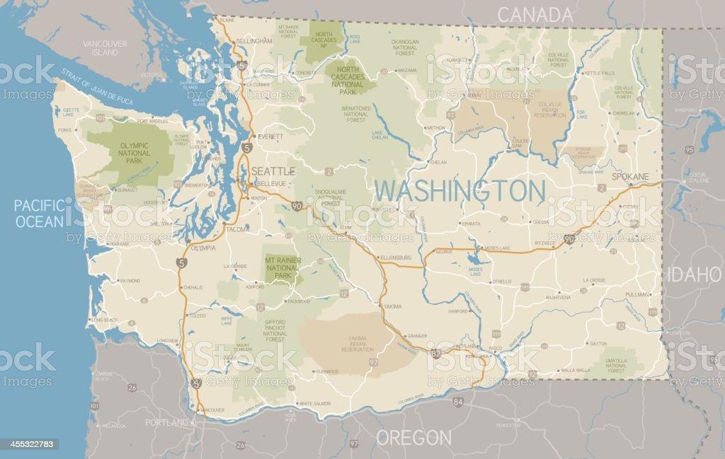 Washington State Map royalty-free stock vector art
