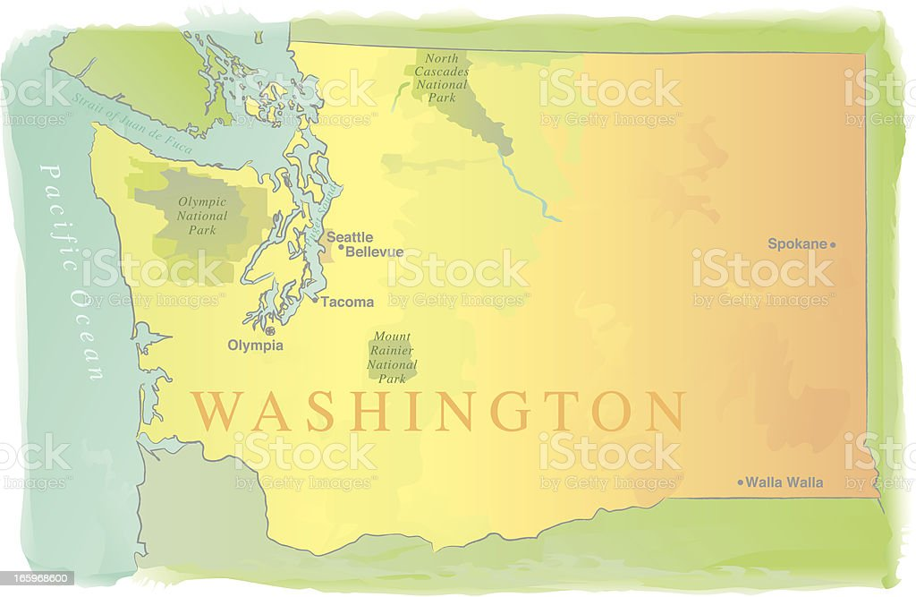 Washington State Map - Watercolor Style royalty-free stock vector art