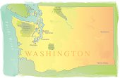Washington State Map - Watercolor Style