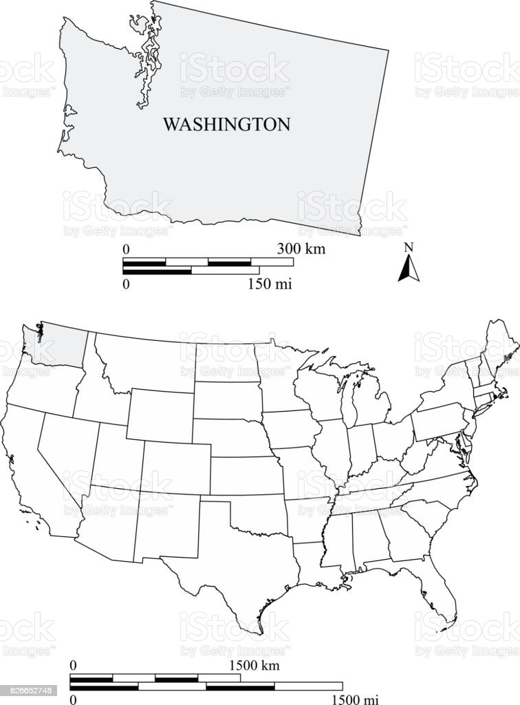 Washington State Of Us Map Vector Outlines With Scales Of Miles - Washington on us map