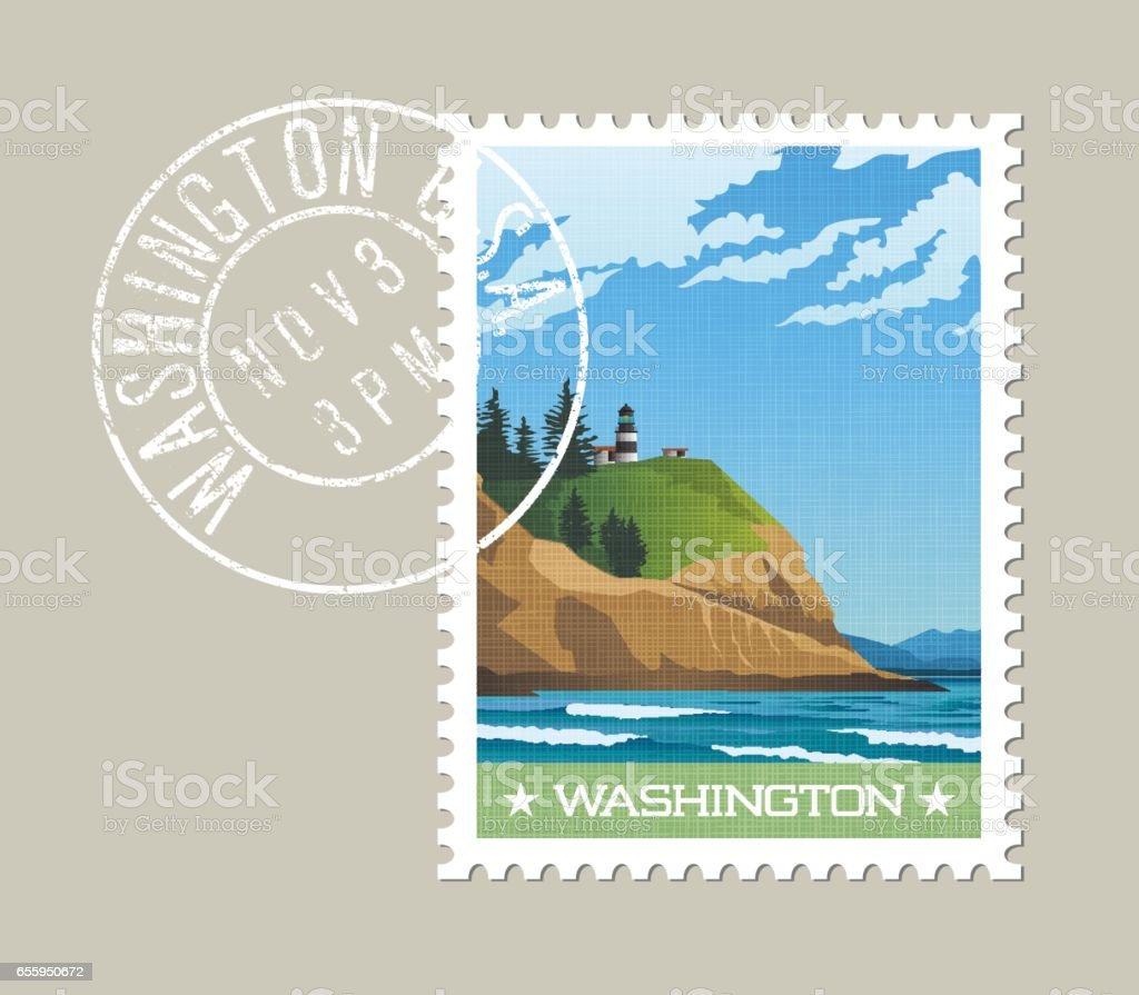 Washington state postage stamp design. Vector illustration of rugged shoreline and lighthouse. Cape Disappointment State Park. Grunge postmark on separate layer. vector art illustration