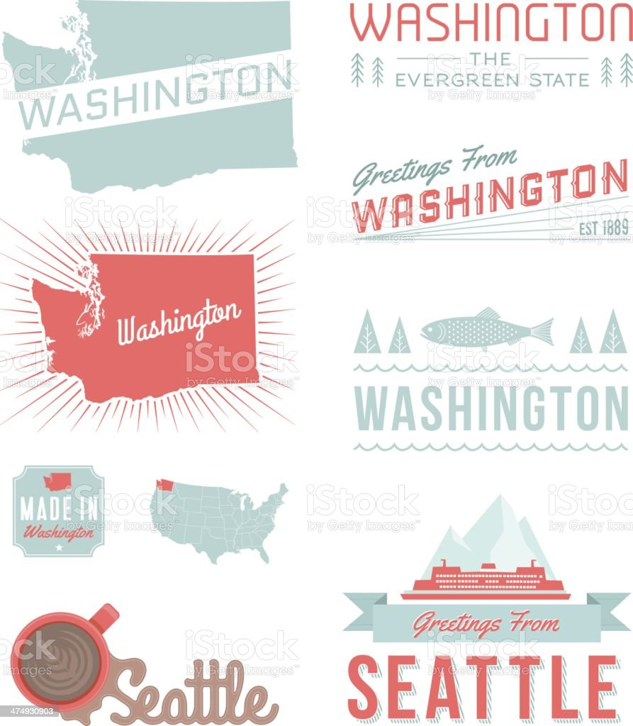 Washington Typography vector art illustration