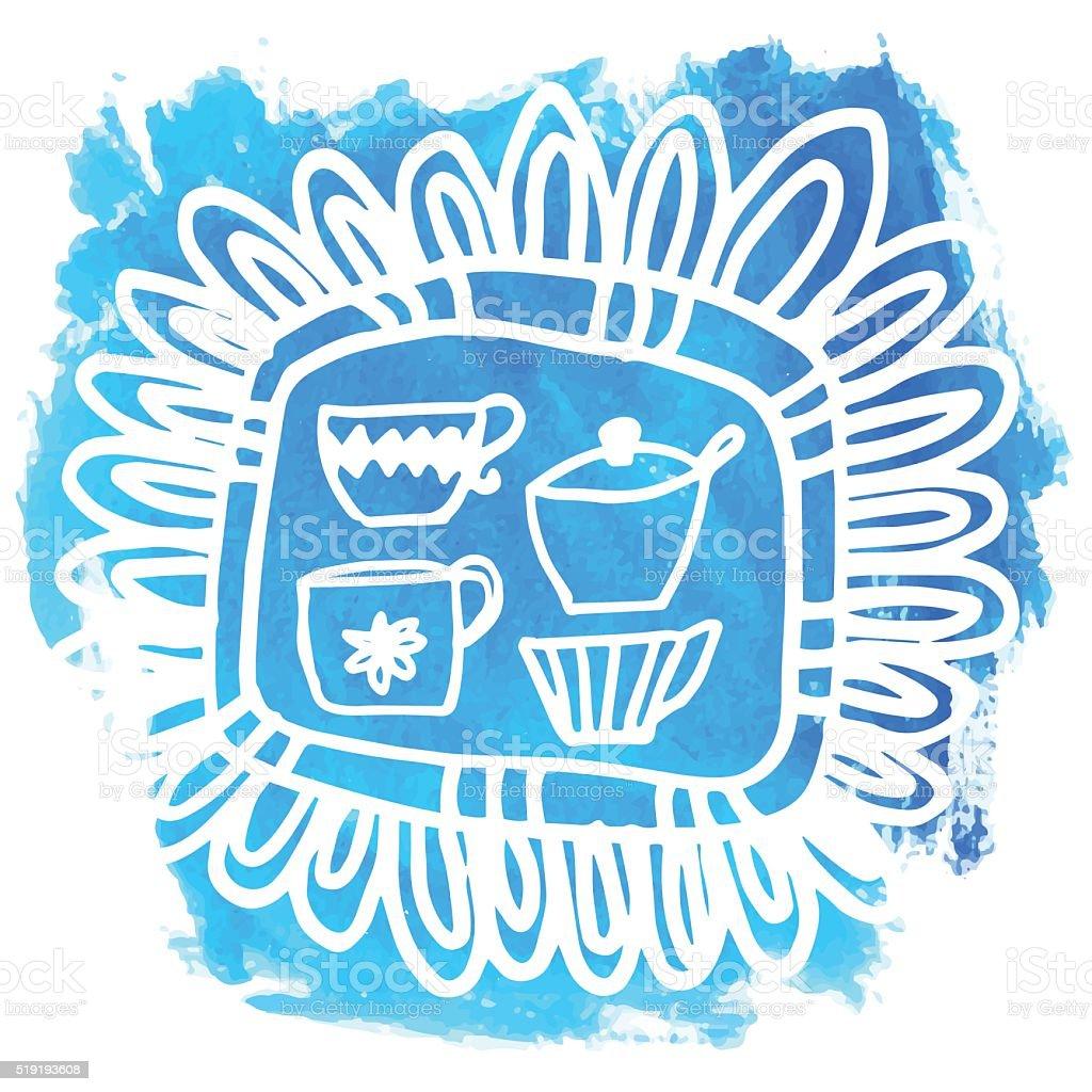 Washy Marker Splotch With hand Drawn Doodle - Teacups vector art illustration