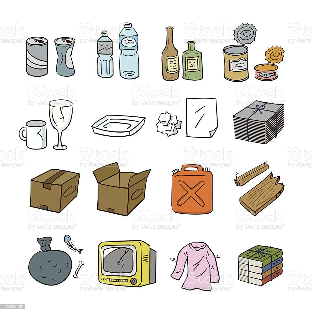waste articles vector art illustration
