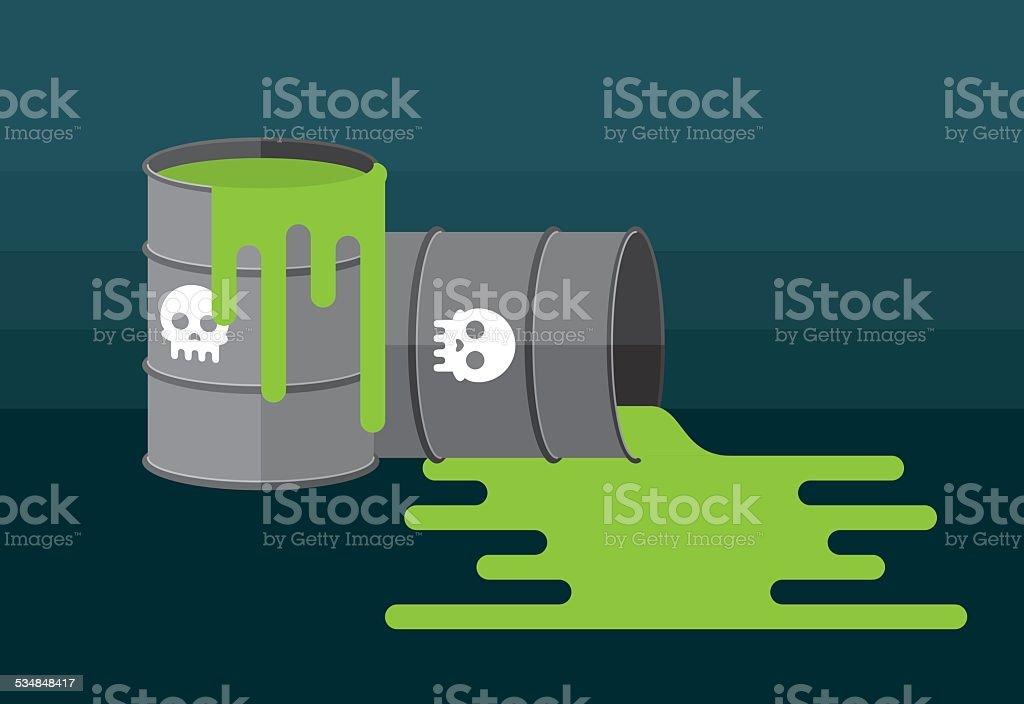 Waste Barrels vector art illustration