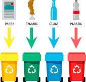 Waste bin set vector illustration
