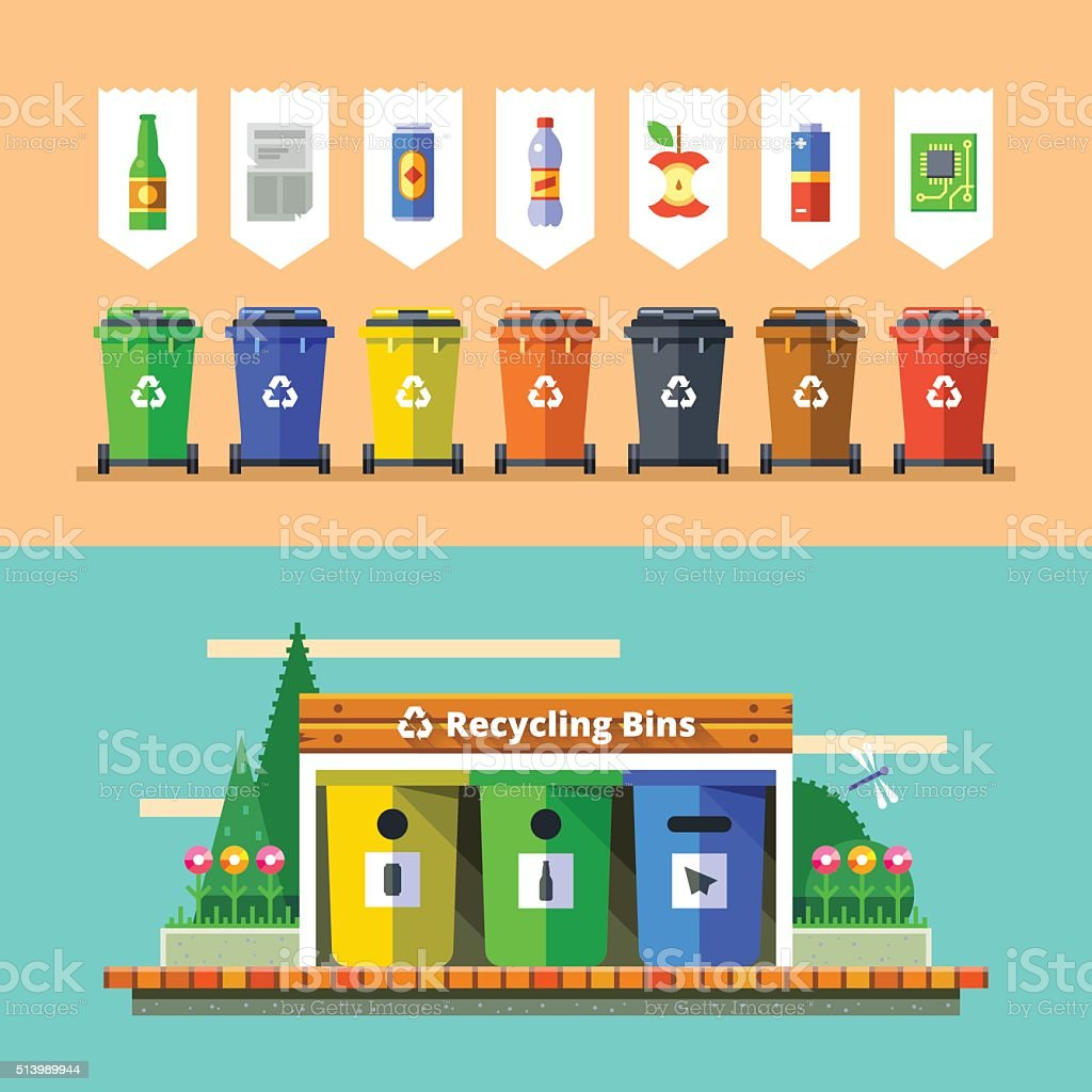Waste management and recycle concept. Flat vector. vector art illustration