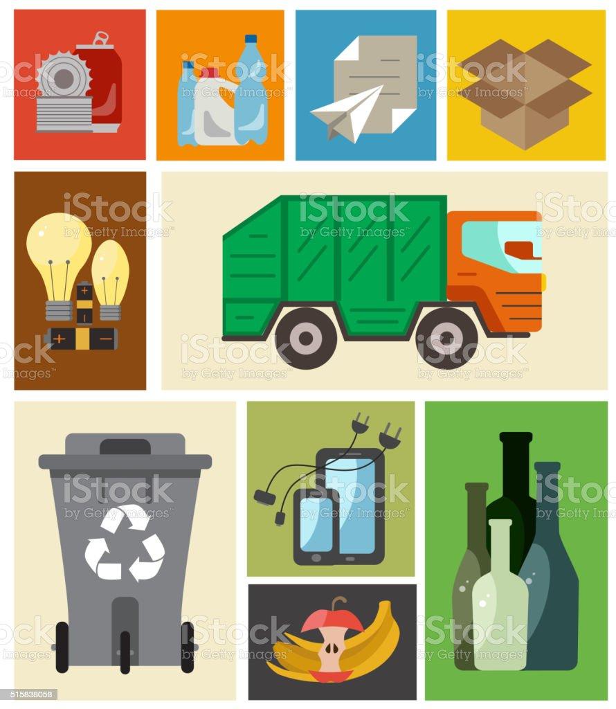 Waste managment flat concept vector art illustration