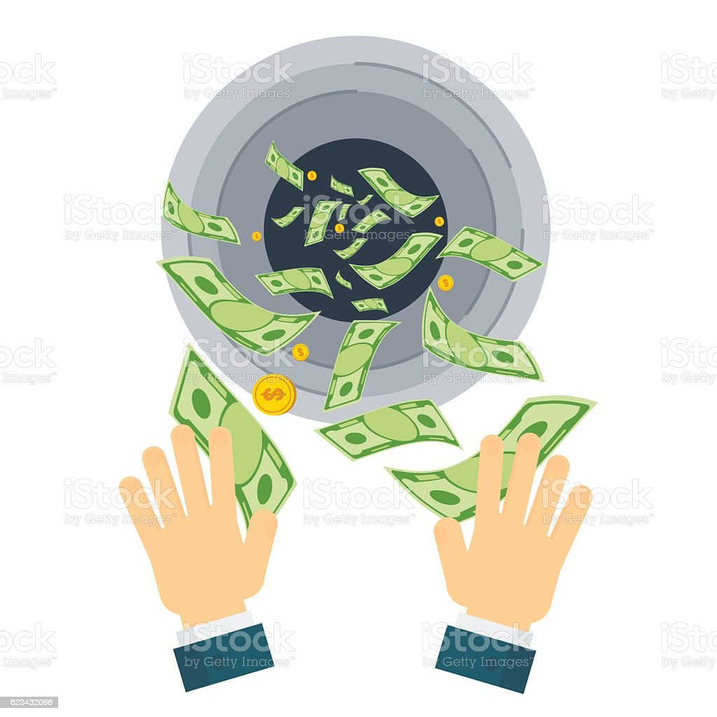 waste of money hand vector art illustration