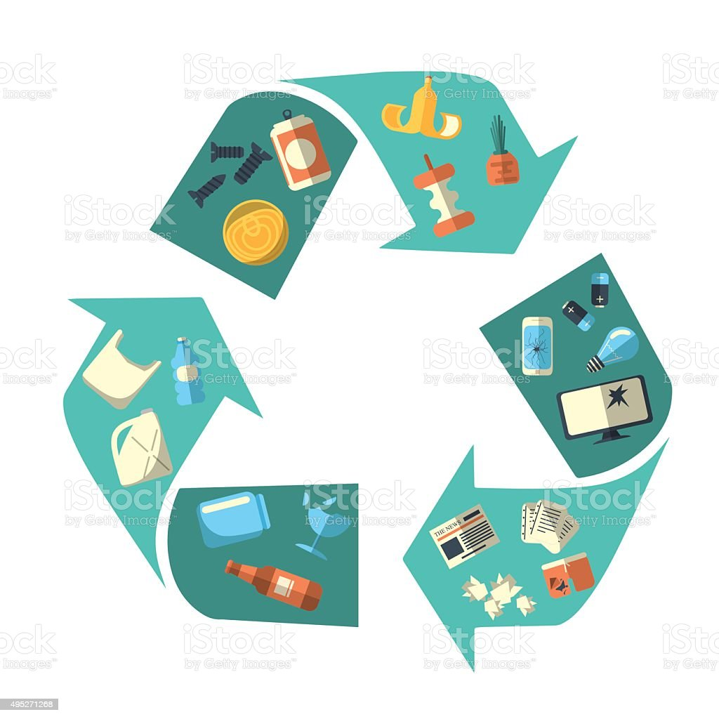 Waste sorting and recycling isolated symbol vector art illustration
