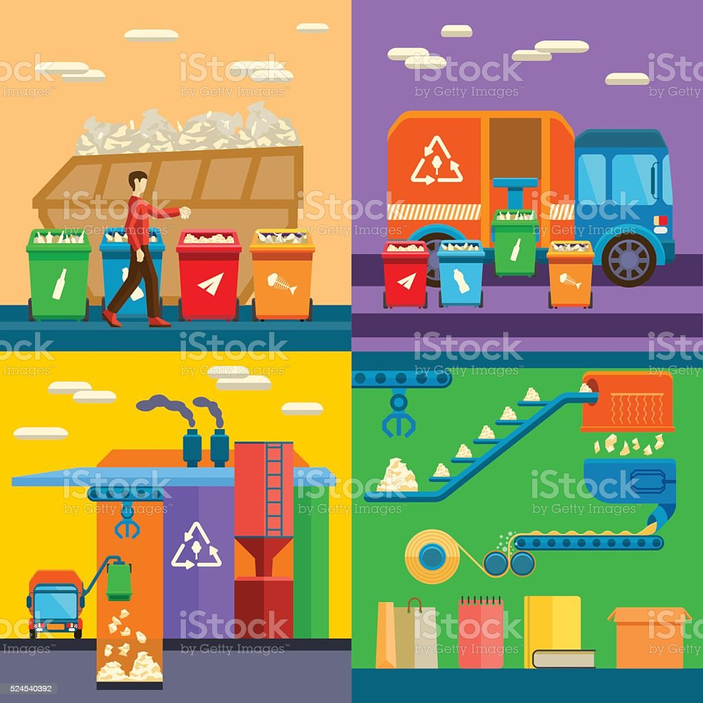Waste sorting garbage recycling environment flat style vector illustration vector art illustration