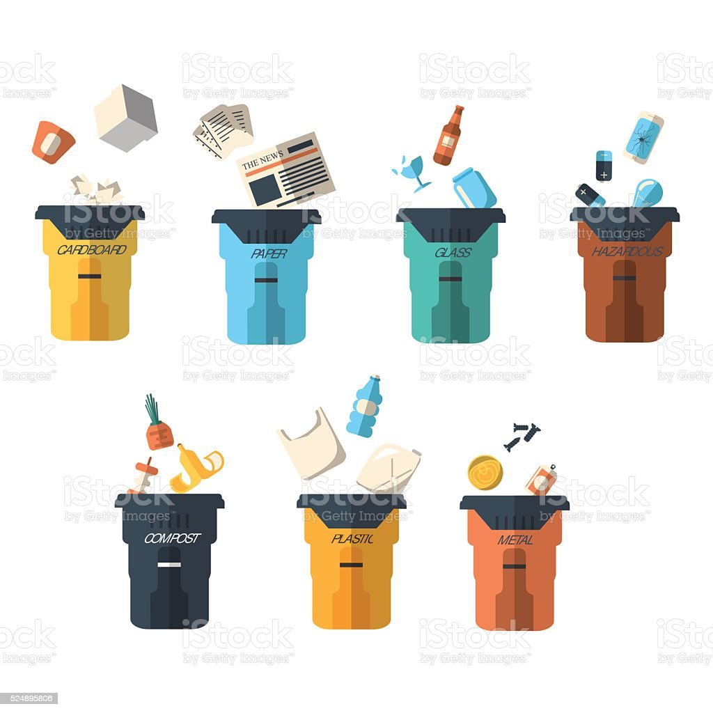 Waste sorting of garbage types set vector. vector art illustration